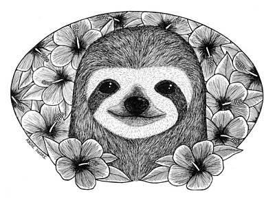 Sloth Drawing - Bathing In Flowers by Andie Shore