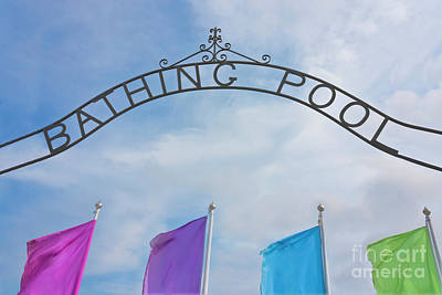 Grate Photograph - Bathing Pool Sign Penzance by Terri Waters