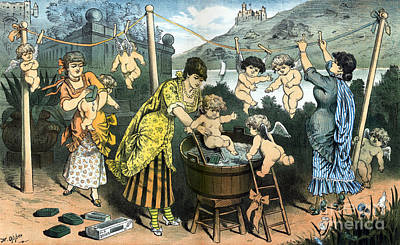 Bathing Their Little Angels, 1883 Print by Science Source