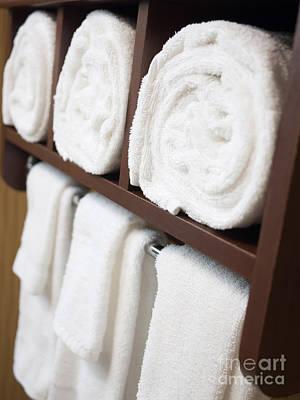 Bathroom Towel Rack With Rolled Towels Print by Paul Velgos