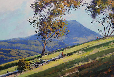 Gum Tree Painting - Bathurst Hillside by Graham Gercken
