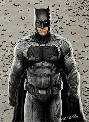 Ben Affleck Drawing - Batman Ben Affleck by David Dias