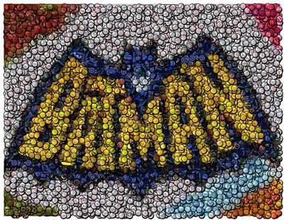 Batman Bottle Cap Mosaic Print by Paul Van Scott