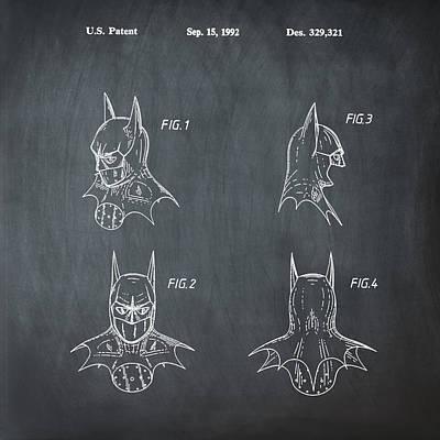 Dc Comics Drawing - Batman Cowl Patent by Digital Reproductions