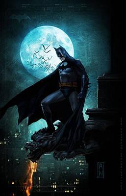 Batman Building Painting - Batman On Building Ledge by Jeremy Tisler