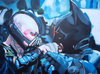 Batman Vs Bane Print by Martin Putsey