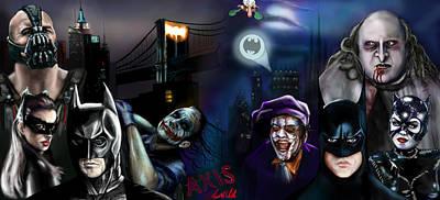 Catwoman Painting - Batman Vs Batman by Vinny John Usuriello