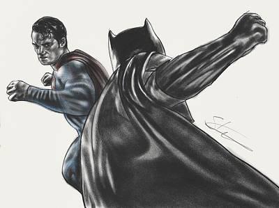 Batman Vs Superman Dawn Of Justice Print by Scott Strachan