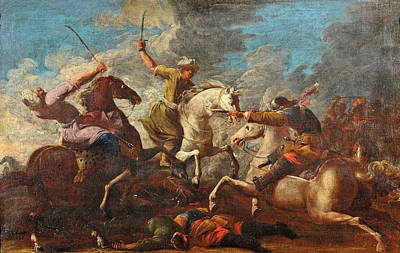 Painting - Battle by Attributed to Francesco Maria Raineri