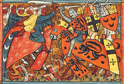 Knight Drawing - Battle Between Crusaders And Muslims by French School