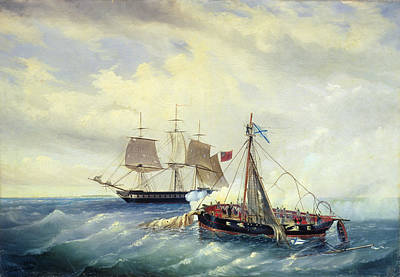 July Painting - Battle Between The Russian Ship Opyt And A British Frigate Off The Coast Of Nargen Island  by Leonid Demyanovich Blinov