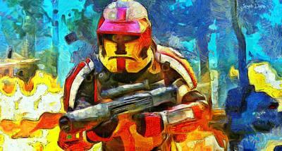 Soldier Digital Art - Battle In The Forest - Da by Leonardo Digenio