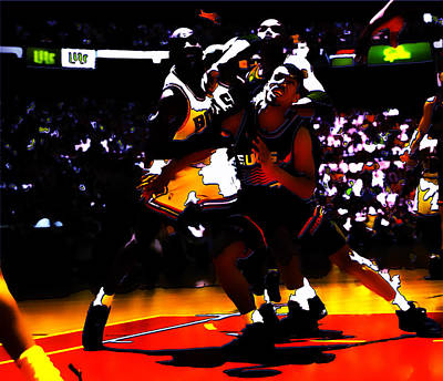 John Stockton Digital Art - Battle In The Paint by Brian Reaves