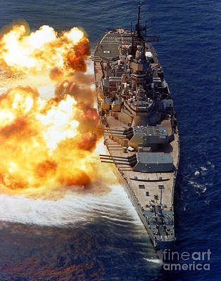 Warships Photograph - Battleship Uss Iowa Firing Its Mark 7 by Stocktrek Images