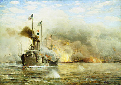 Gunfire Painting - Battleships At War by James Gale Tyler