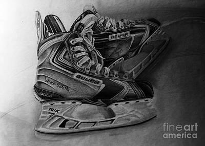 Hockey Original featuring the drawing Bauer Vapor X100 Ice Hockey Skates  by Gary Reising