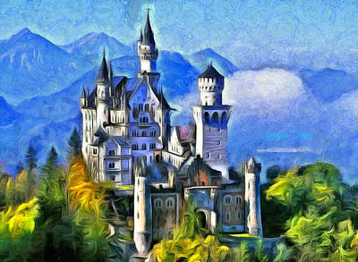 Bavarian Digital Art - Bavaria's Neuschwanstein Castle - Da by Leonardo Digenio