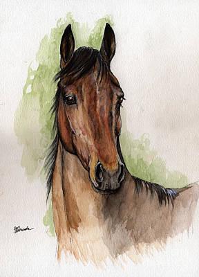 Bay Horse Portrait Watercolor Painting 02 2013 Print by Angel  Tarantella