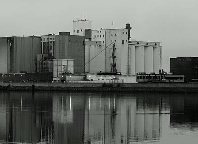 Mirror Imaging Photograph - Bay State Milling In Gray Scale by Wild Thing