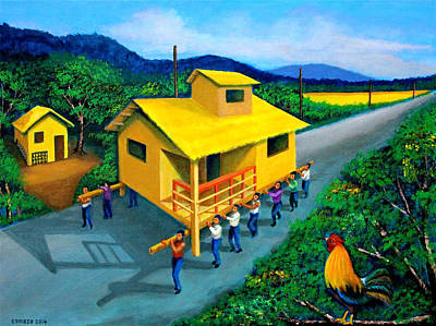 Bamboo House Painting - Bayanihan by Cyril Maza