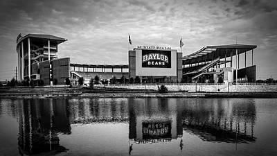 College Photograph - Baylor Bears Mclane Stadium Bw by Joan Carroll