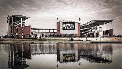 College Photograph - Baylor Bears Mclane Stadium Sketch by Joan Carroll