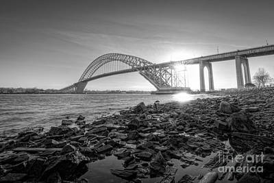 Bayonne Bridge Black And White Print by Michael Ver Sprill