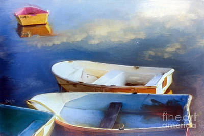 Row Boat Drawing - Bayside... Cape Cod Mass by Mark Tonelli