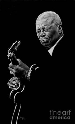 Lucille Drawing - B.b. King by Jerry Lee