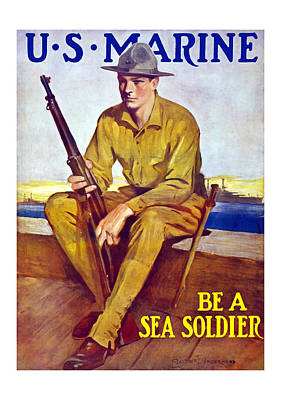 Be A Sea Soldier - Us Marine Print by War Is Hell Store