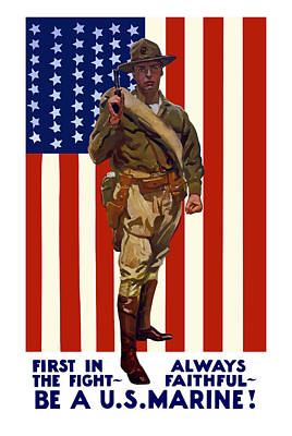 Us Flag Painting - Be A Us Marine by War Is Hell Store