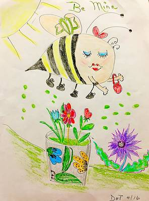 Bumblebee Drawing - Be Mine Bumblebee by Dorothy Ruth Phelps