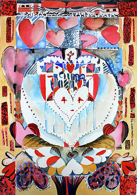 Abstract Hearts Drawing - Be Mine Valentine by Mindy Newman