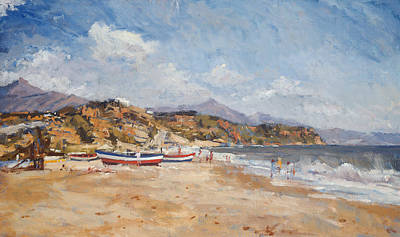 Spain Painting - Beach And Mountains  Nerja by Christopher Glanville