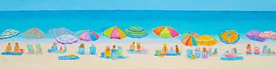 Seascape Painting - Beach Art - Crazy Lazy Summer Days by Jan Matson