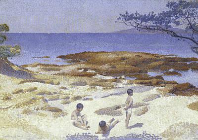 Blue Cross Painting - Beach At Cabasson by Henri-Edmond Cross