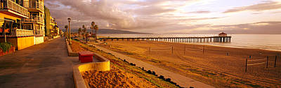 Volleyball Photograph - Beach At Dusk, Manhattan Beach, Los by Panoramic Images