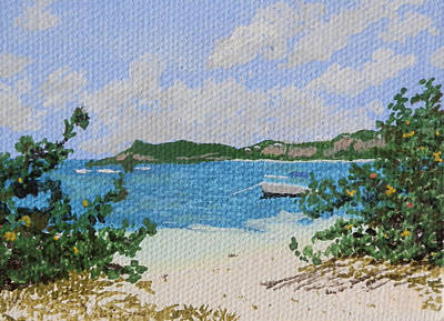 Beach At Le Galion Print by Margaret Brooks