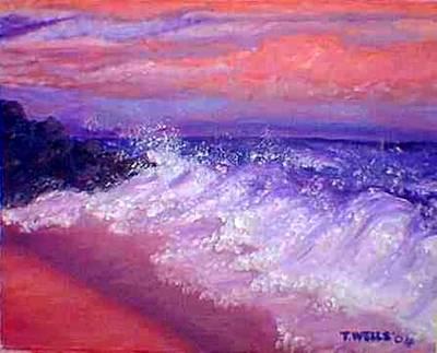 Beach At Sunrise Print by Tanna Lee M Wells