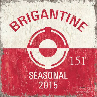 Beach Badge Brigantine Print by Debbie DeWitt