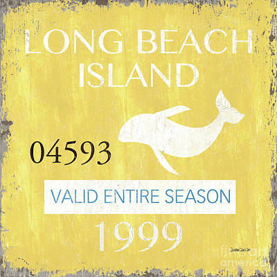 Relaxation Mixed Media - Beach Badge Long Beach Island 2 by Debbie DeWitt