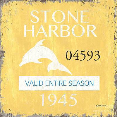 Beach Badge Stone Harbor Print by Debbie DeWitt