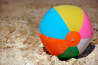 Beach Ball On Sand With Copy Space Print by Paul Velgos