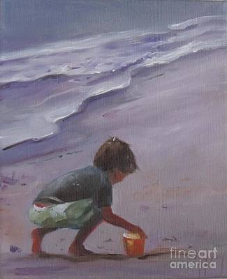 Sand Castles Painting - Beach Bucket by Mary Hubley