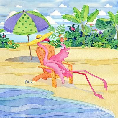 Coastal Birds Painting - Beach Chair Flamingo by Paul Brent