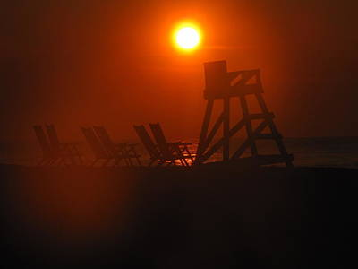 Beach Chair Silhouette 1 Print by Shane Brumfield