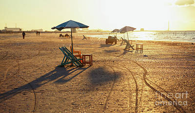 Chaise Digital Art - Beach Chairs And Tables by Mohamed Elkhamisy