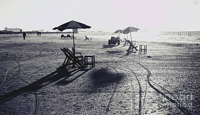 Chaise Digital Art - Beach Chairs And Tables,black And White. by Mohamed Elkhamisy