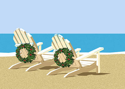Wreath Painting - Beach Chairs With Wreaths by Elaine Plesser