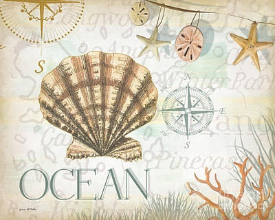 Compass Painting - Beach Collage B by Grace Pullen